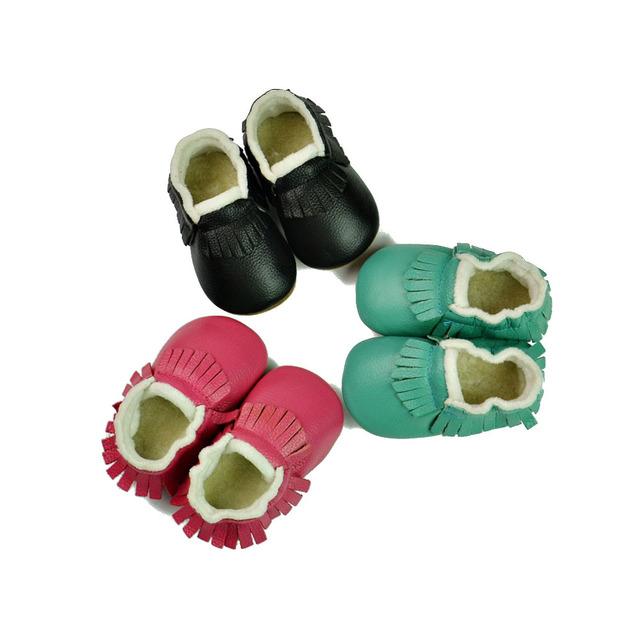 Nova Moda Outono Inverno Manter Quente Couro Genuíno Moccs Bebê Recém-nascido Kids First Walkers Infantil Criança Franja Mocassins Sapatos