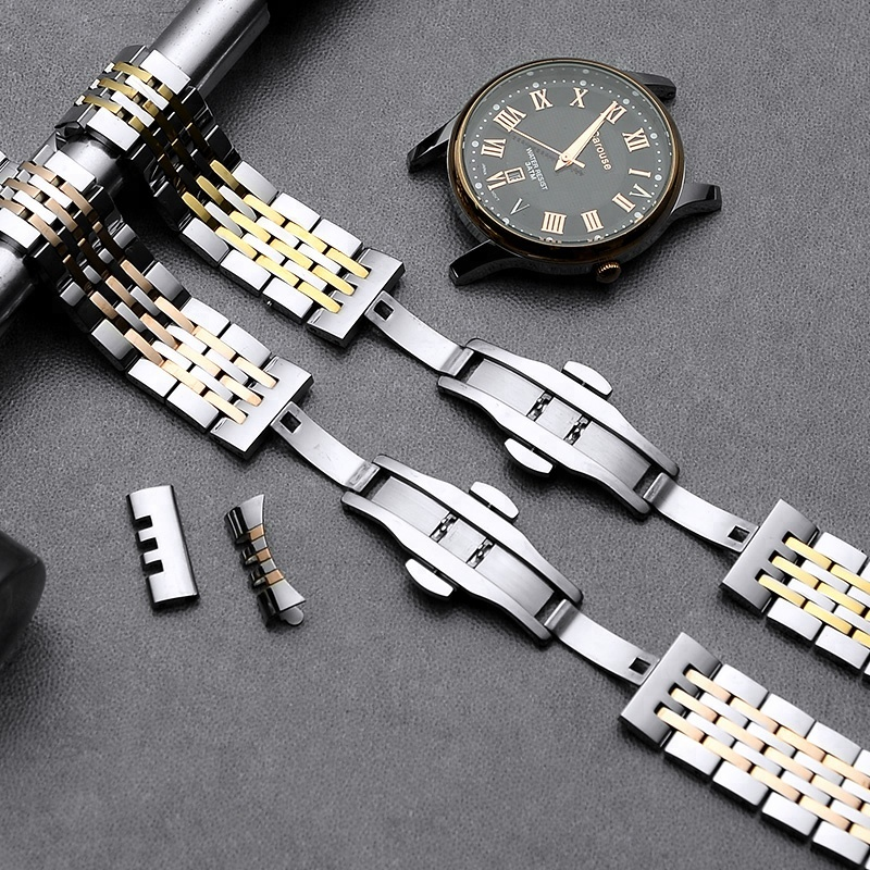 Image 3 - Carouse Stainless Steel Metal Watchband Bracelet 12mm 14mm 16mm 18mm 20mm 22mm Watch Band Wrist Strap Black Silver Rose Gold-in Watchbands from Watches