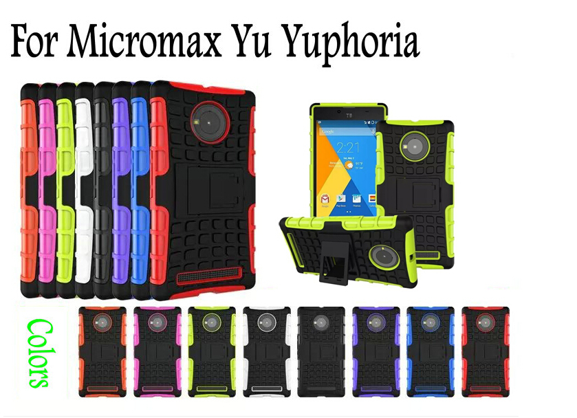 Yu Yuphoria case, Shock proof Armor kickstand Robot case for Micromax Yu Yuphoria two layers defender case JQ01