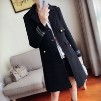 Arlene Sain Custom Women Colonel Badge Pure Copper Metal Buckle 100 Australian Import Wool Coat Free