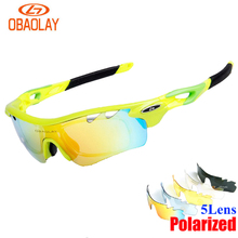 Obaolay Cycling Glasses Outdoor Sport Mountain Polarized UV400 Bike Bicycle Glasses Motorcycle Sunglasses Eyewear Goggles 5 Lens