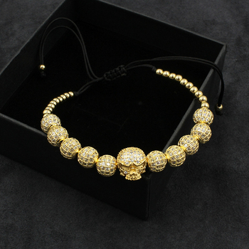New Zircon Bracelets Men Jewelry Cubic Micro Pave CZ Skull Charm 4mm Round Beads Braided Macrame Bracelet Pulseira Feminina