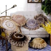 1-teilig Samt Spitze Verziert Einfarbige Luxus Kissen Sofa Kissen Dekorative Kissen Runde Kissen Durchmesser 45 cm GB2