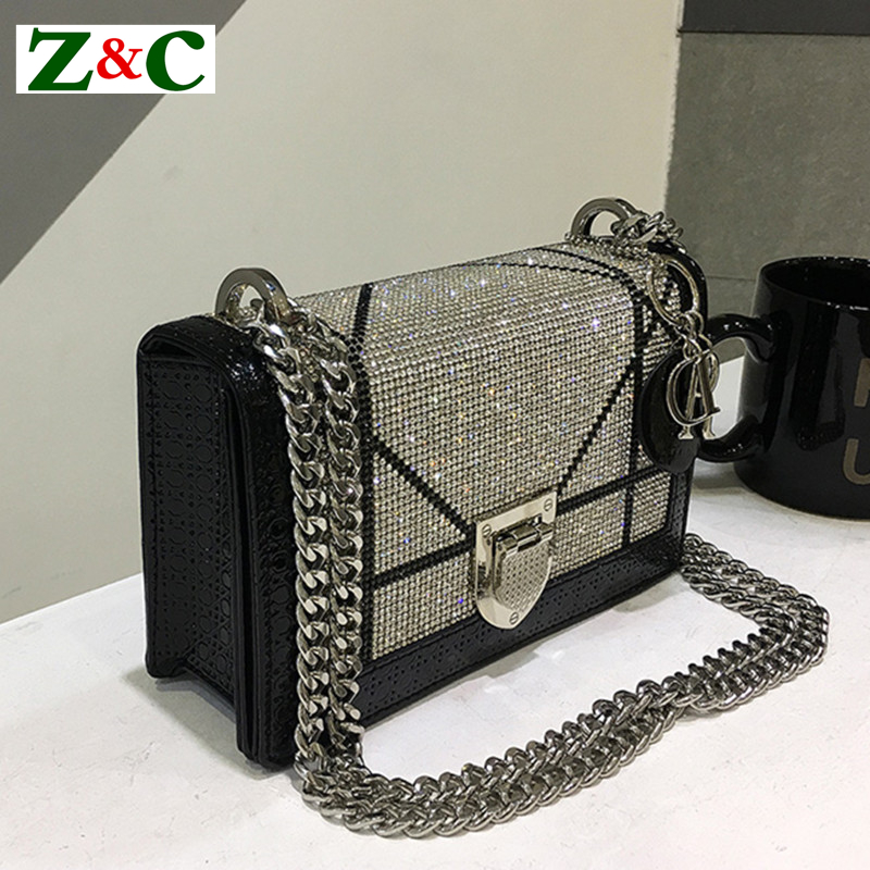 2018 New Diamond Fashion Leather Shoulder Messenger Clutches Bag Casual Chain High Quality Luxury Handbags Women Bags Designer