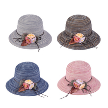 Hot Korean lady striped dome sunshade sun hat wide eaves folding straw beach Fashionable Handmade Casual Woven flowers Sun