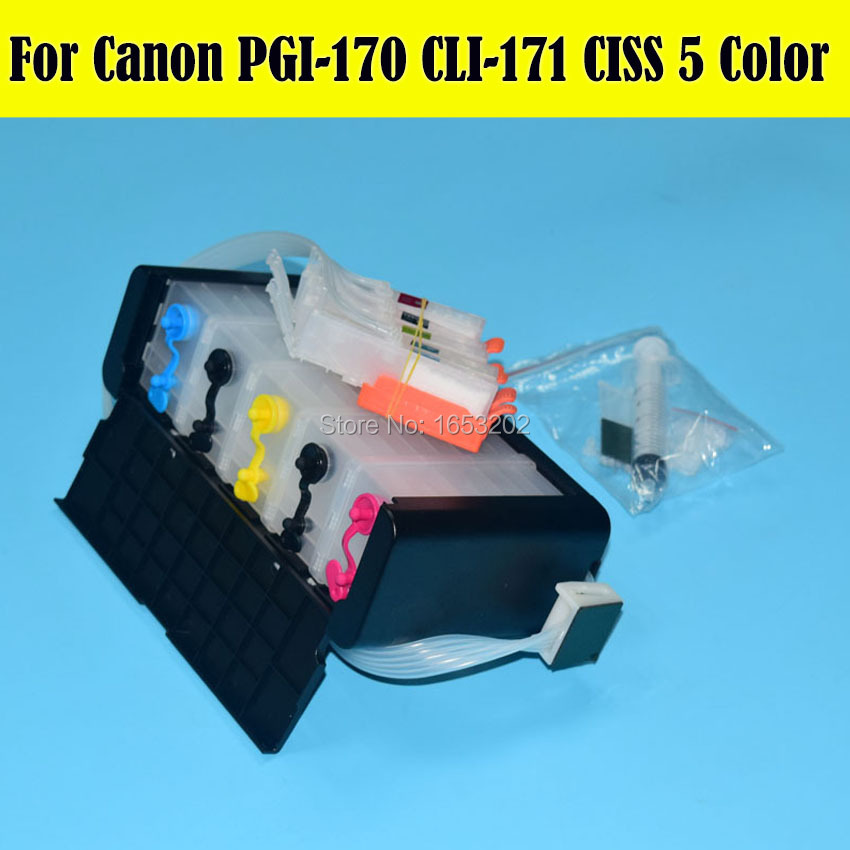 ФОТО 5 Color/Set Ciss Bulk Ink Supply System For Canon PGI-170 CLI-171 PGI170 Ciss For Canon MG6180 MG5710 Printer Ciss