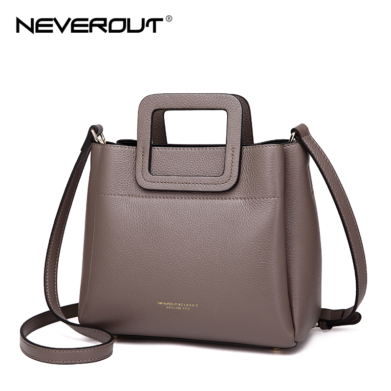 цены на NEVEROUT 4 Color Small Handbag High Quality Genuine Leather Brand Women Name Bag Handbags Dress Style Tote Female Shoulder Bags