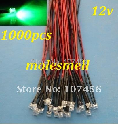 Free Shipping 1000pcs 5mm Flat Top Green LED Lamp Light Set Pre-Wired 5mm 12V DC Wired 5mm 12v Big/wide Angle Green Led