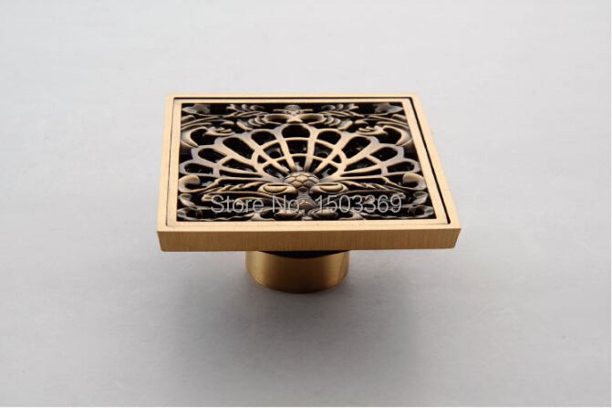 ФОТО high quanlity Total Brass bronze finished against the stench art cover bathroom Floor Drain Waste Drain 10*10 size  Floor Drain