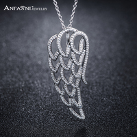 ANFASNI 49 Off High Quality 925 Sterling Silver Angel Wing Necklaces For Women With Clear CZ