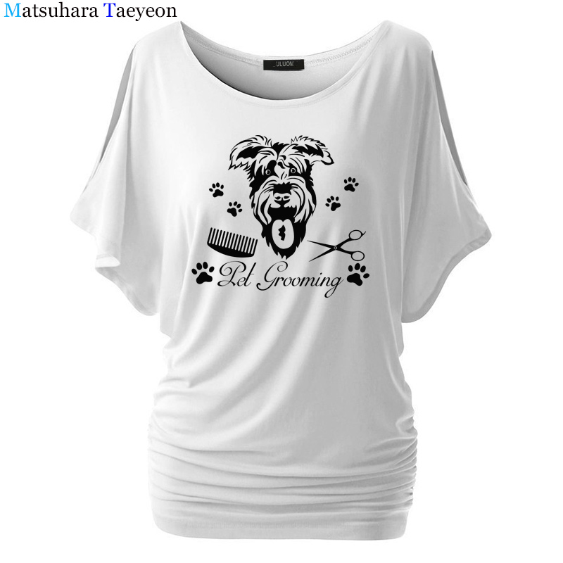 Pet <font><b>Dog</b></font> Grooming <font><b>Art</b></font> Fashion Women clothing Print T-shirt Top Short Sleeve Female clothing t shirt for Brand <font><b>Tshirt</b></font> image
