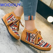 Bohemian Boots Fringe Lace up Printing Plush Genuine Leather Booties for Women Boots Handmade Casual Flat Heel Female Shoes