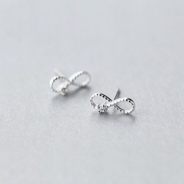 925 Sterling Silver Infinity Symbol Cz Post Stud Earrings A1816