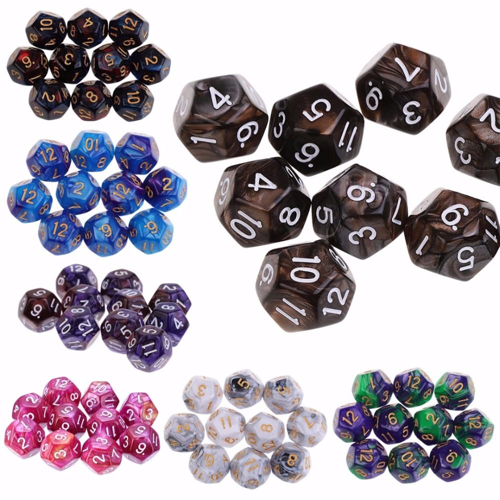 Mayitr 10PCS New Acrylic D12 Digital Dice Set 12 Sided Polyhedral Die For Dungeons And Dragons Games Dices Play Game