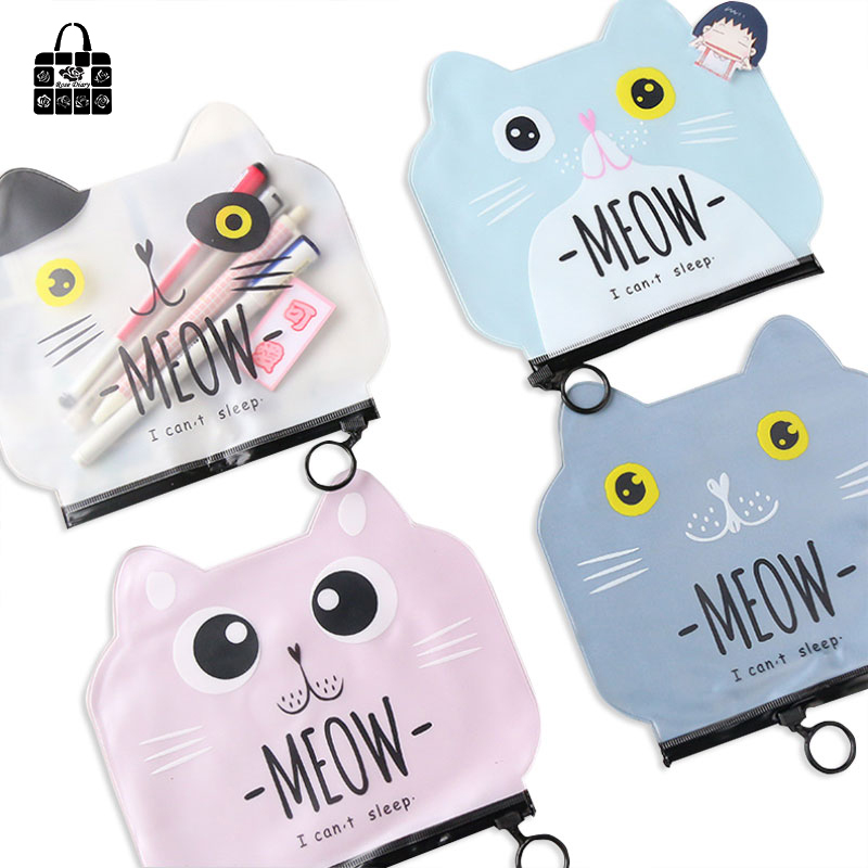 Rose diary new creative cute cartoon cat cosmetic bag pen bag zipper PVC waterproof bill information storage bag pacgoth creative pvc waterproof cute