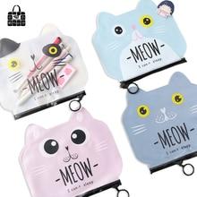 Купить с кэшбэком Rose diary new creative cute cartoon cat cosmetic bag pen bag zipper PVC waterproof bill information storage bag
