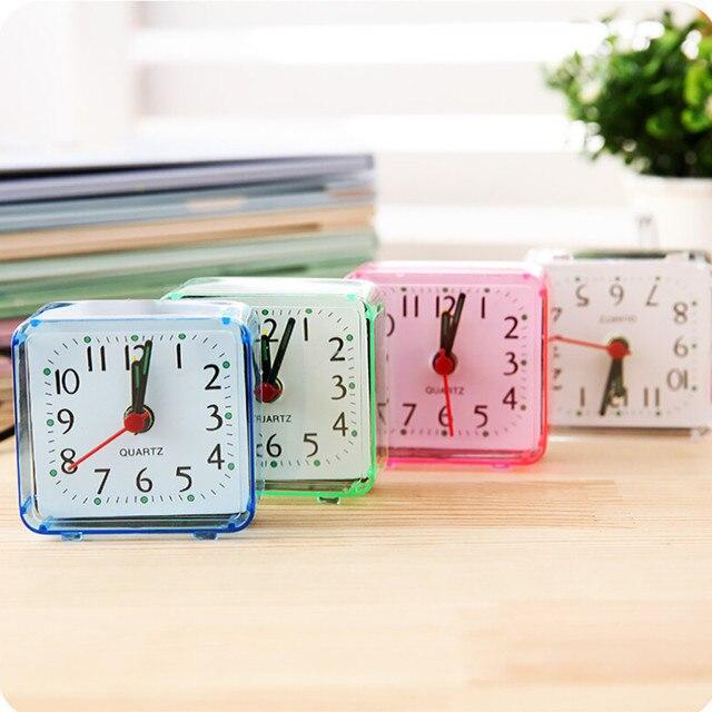 2018 New Cute Clock Bedroom Desk Square Small Bed Compact Travel Quartz Beep Alarm Clock Cute Portable Fashion Clock For Student