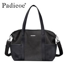 Padieoe Luxury Genuine Leather Men Briefcase Durable Casual Totes 15″ Laptop Portfolio High Quality Shoulder Bag Casual Tote