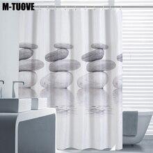 Mtuove 폴리 에스테르 인쇄 샤워 커튼 스톤 방수 및 두꺼운 욕실 커튼 사용자 정의 욕실 커튼