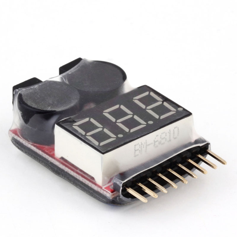 High Quality 1S 8S LED font b Battery b font Low Voltage Buzzer Alarm 2 in1