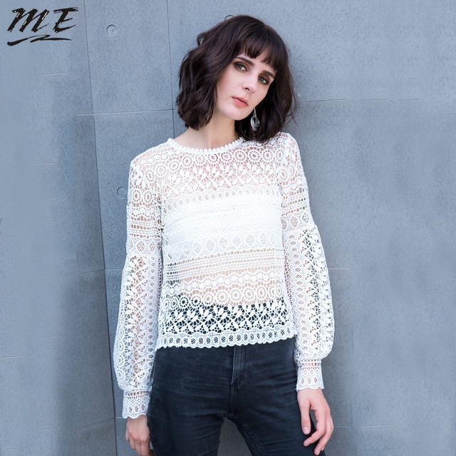 9791ccf5996cf ME Lace White Women Blouse Plus Size Long Sleeve See-through Hollow Up  White Women Tops Oversized Autumn Women Larger Shirts