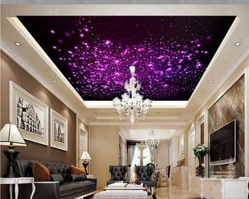 цена на 3d customized wallpaper Home Decoration Purple glare zenith ceiling design 3d ceiling murals wallpaper