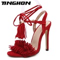 2017 New Fashion Ankle Straps Tassel Summer Dress Shoes Gladiator Womens Sandals Summer 2017 Brand Fringe Heels Sandals