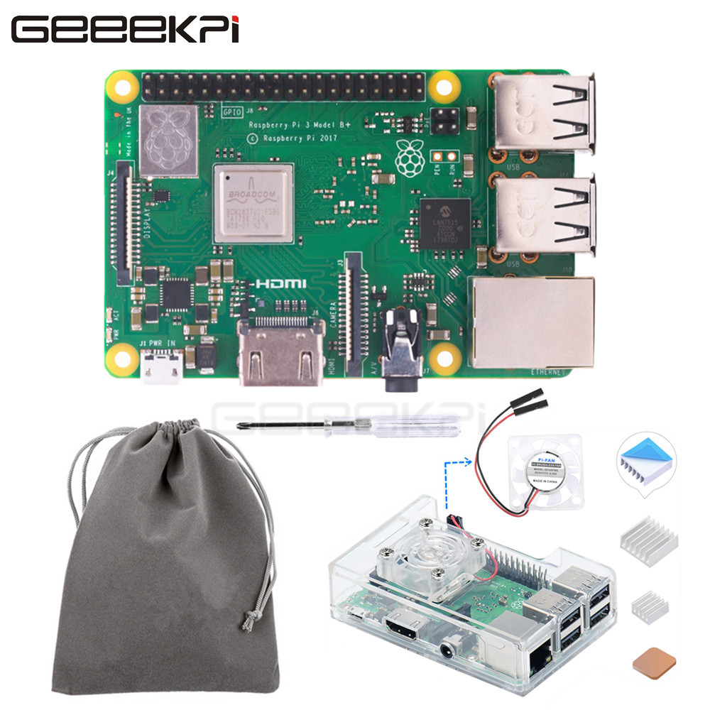 GeeekPi Free Gift Clear ABS Case Hestsink Fan Bag Original Raspberry Pi 3 B Plus RPI