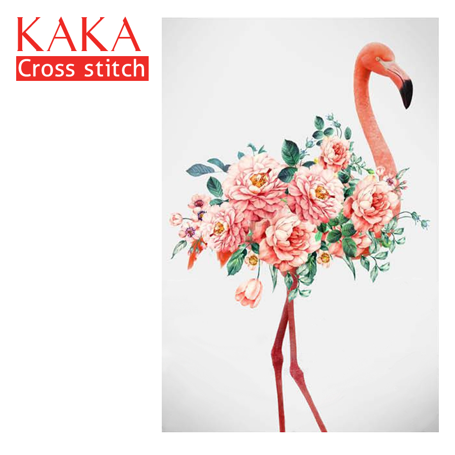 KAKA Cross stitch kits 5D Flamingo Flowers Embroidery needlework sets with printed pattern 11CT canvas Home