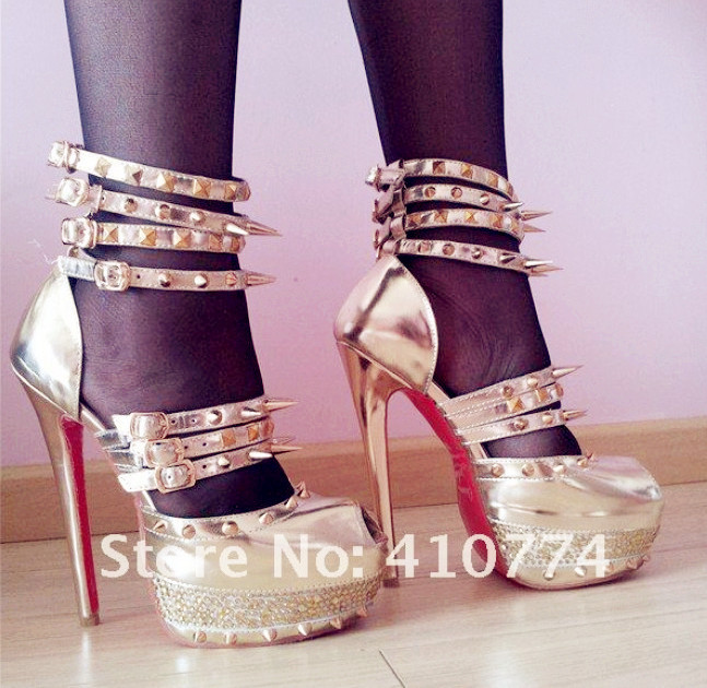 eba245067636 Best Quality Daffodil Limited edition gold black genuine leather sandals  Pumps high heel platform shoes for women-in Women s Pumps from Shoes on ...