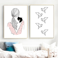 Cartoon Girl Cat Bird Wall Art Canvas Posters And Prints Painting Nordic Poster Animal Pictures Kids Room Decor