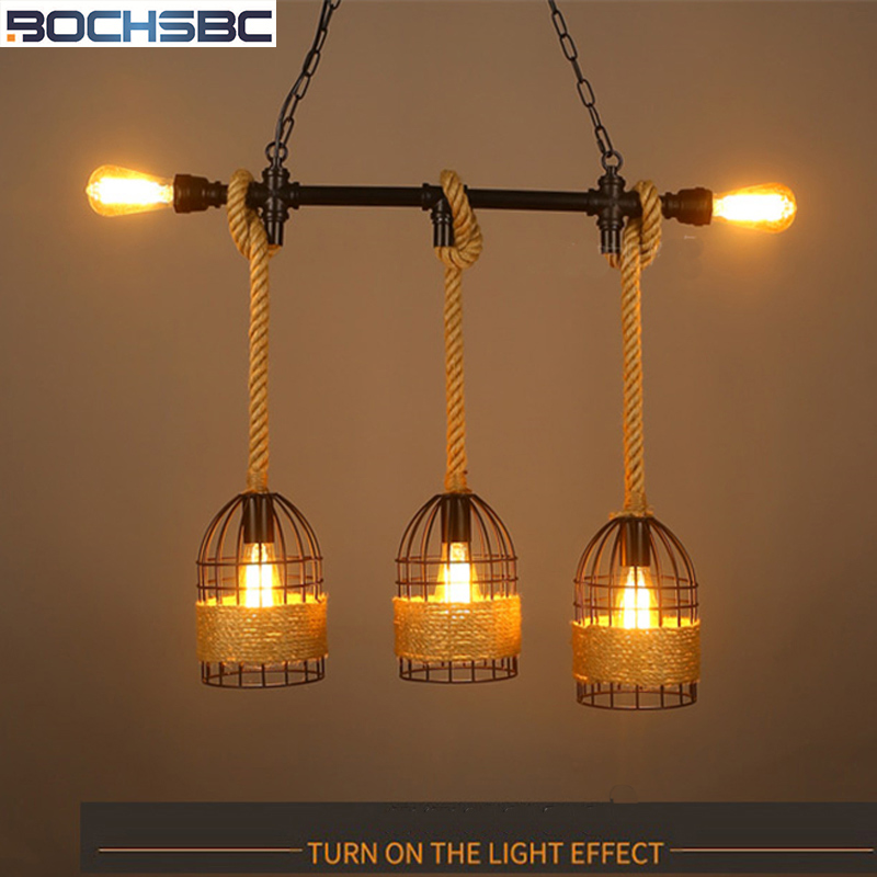 BOCHSBC Loft Pendant Lights Industrial Hanging lamp Wicker Retro Personality Nostalgic Bird Cage Light Fixture Bar Pendant LampBOCHSBC Loft Pendant Lights Industrial Hanging lamp Wicker Retro Personality Nostalgic Bird Cage Light Fixture Bar Pendant Lamp