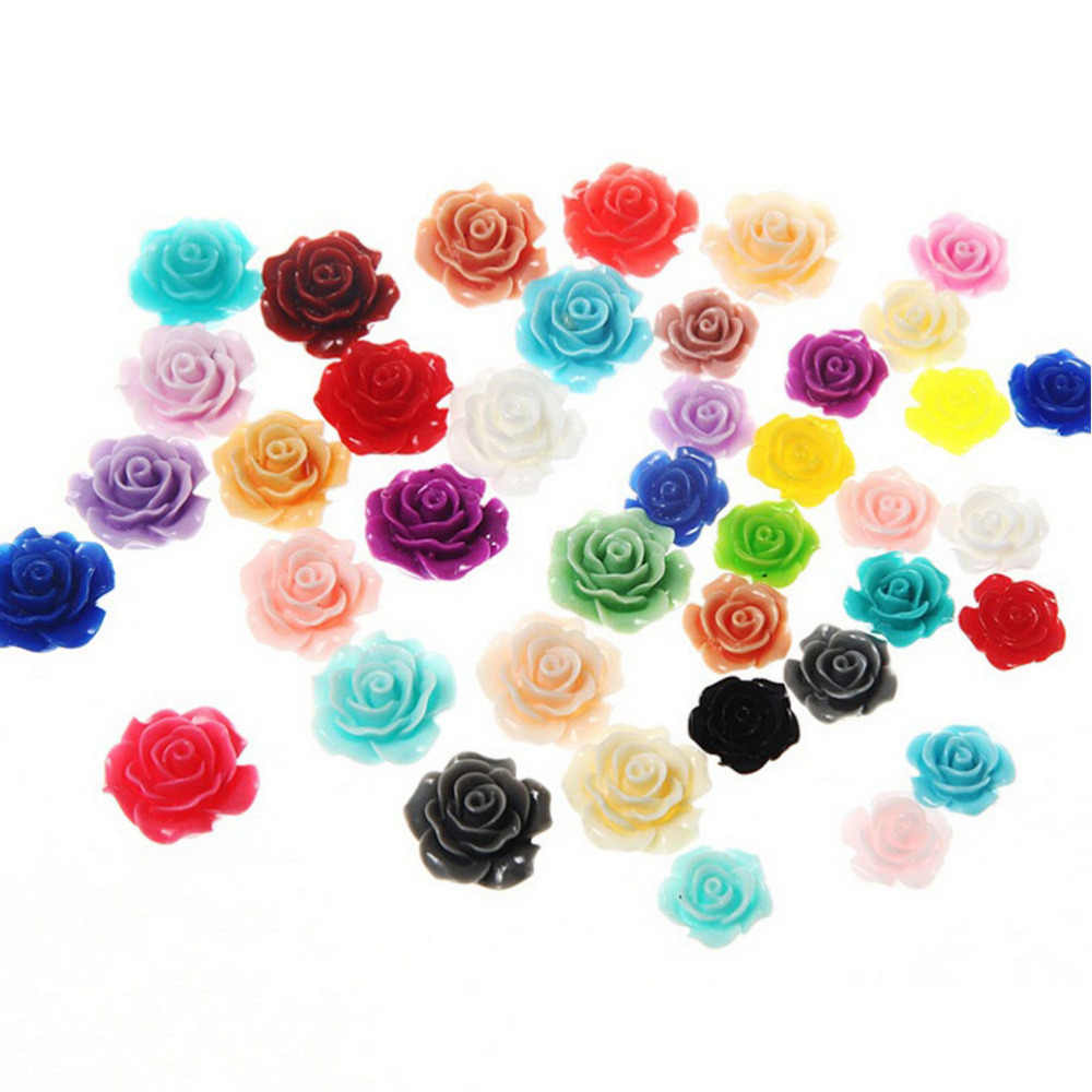 New Candy Color 10mm 10pcs/lot Flat Back Resins Scrapbook 3D Resin Rose Flower Fit Phone Embellishment DIY Miniatures