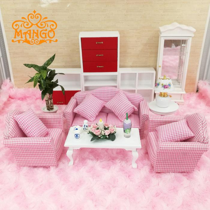 1:12 Dollhouse Miniature Living Room Furniture Pink plaid Sofa Set 4 ...