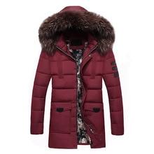 2017 Winter Parka Men Cotton Padded Thickening Warm Male Men's Casual Winter Jacket Men Raccoon Dog Fur Collar Coat Long Parkas