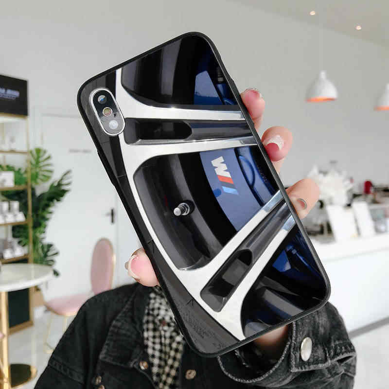 Marca de luxo BMW pneu preto silicone macio TPU telefone capa Para iPhone 5 MAX XR XS X10 5S SE 6 7 6 S 8 6 além de 7 8 plus