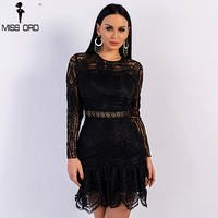 Missord 2018 Sexy Spring And Summer Black Color Elegant Dresses Female Bodycon High Waist O Neck