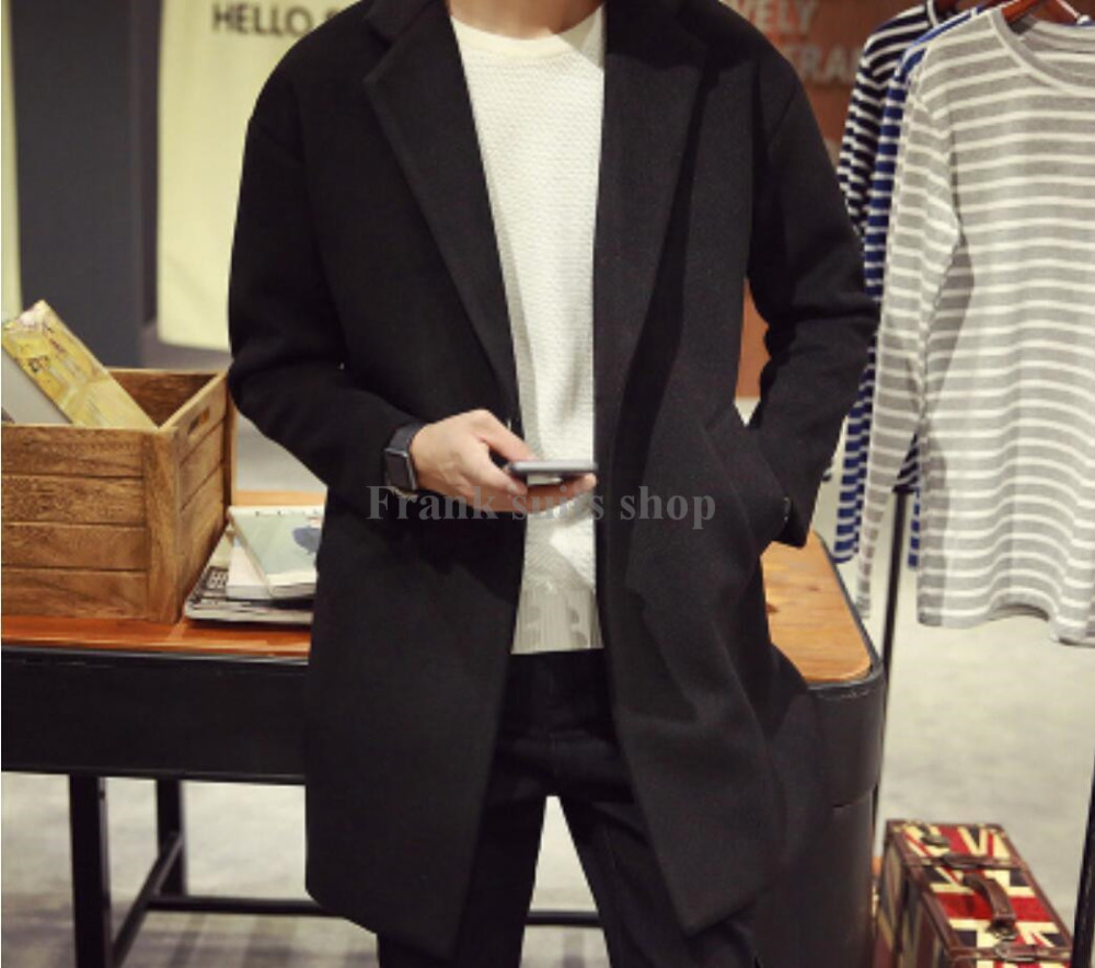 2017 Custom-made Autum Mens Wool Blend Single Breasted Long Trench Coat Jacket Business Outwear
