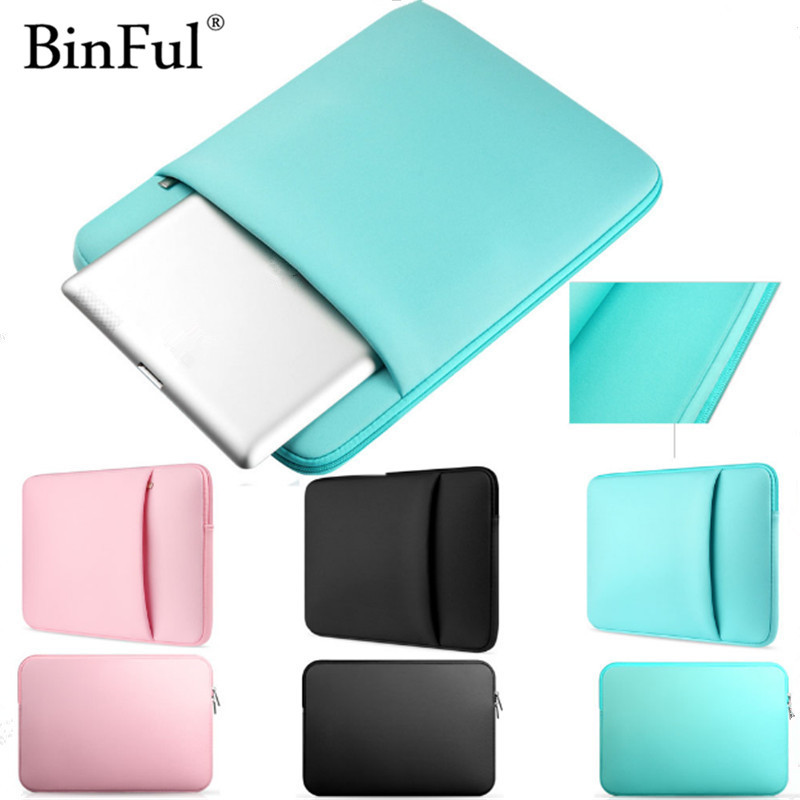 все цены на BinFul Soft Sleeve Laptop Bag Case For Macbook Air Pro Retina 11 12 13.3 15.4'' Pouch Cover Notebook 13 14 15 15.6 inch