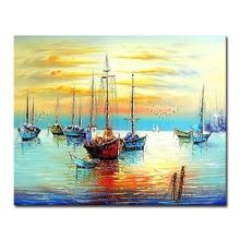 DIY картина маслом по номерам ручная лодка абстрактная роспись Современная Картина на холсте картины для гостиной домашний декор настенное искусство