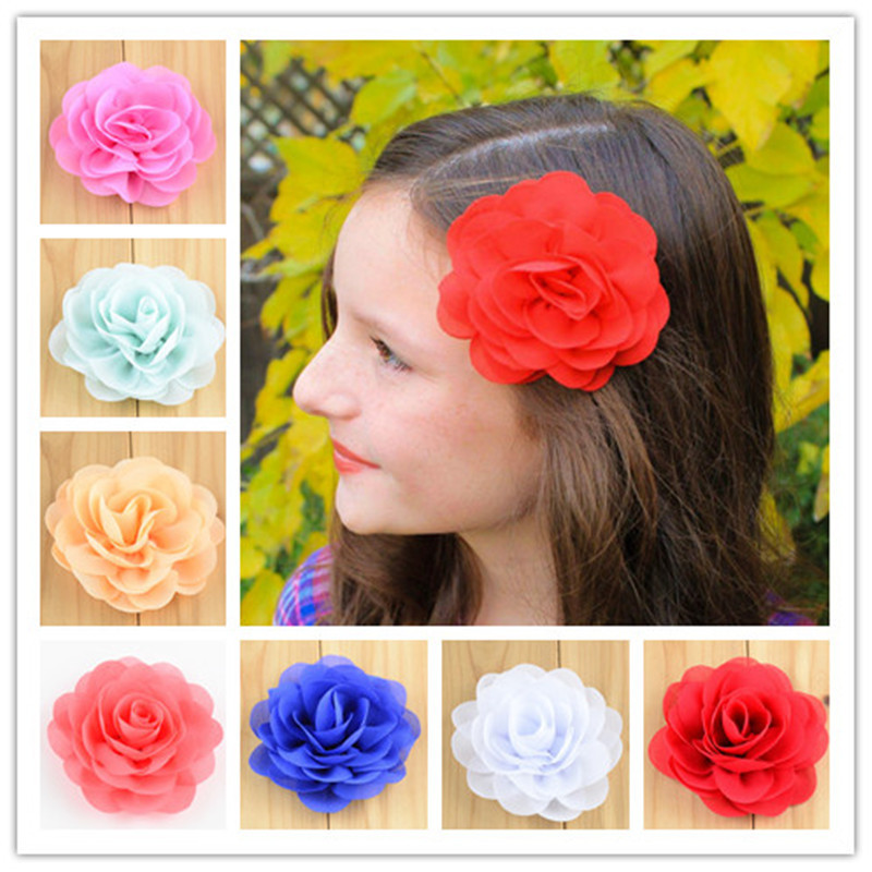 15pcs/lot 28 Colors 3 Chiffon Fabric Flower Hair Clips Rolled Rose Hairpins For Girls Hair Accessories Free Shipping FC111 2014 free shipping triple mini satin rose flower with rhinestone clip fabric eyelet flower hairpin hair accessories8pcs lot
