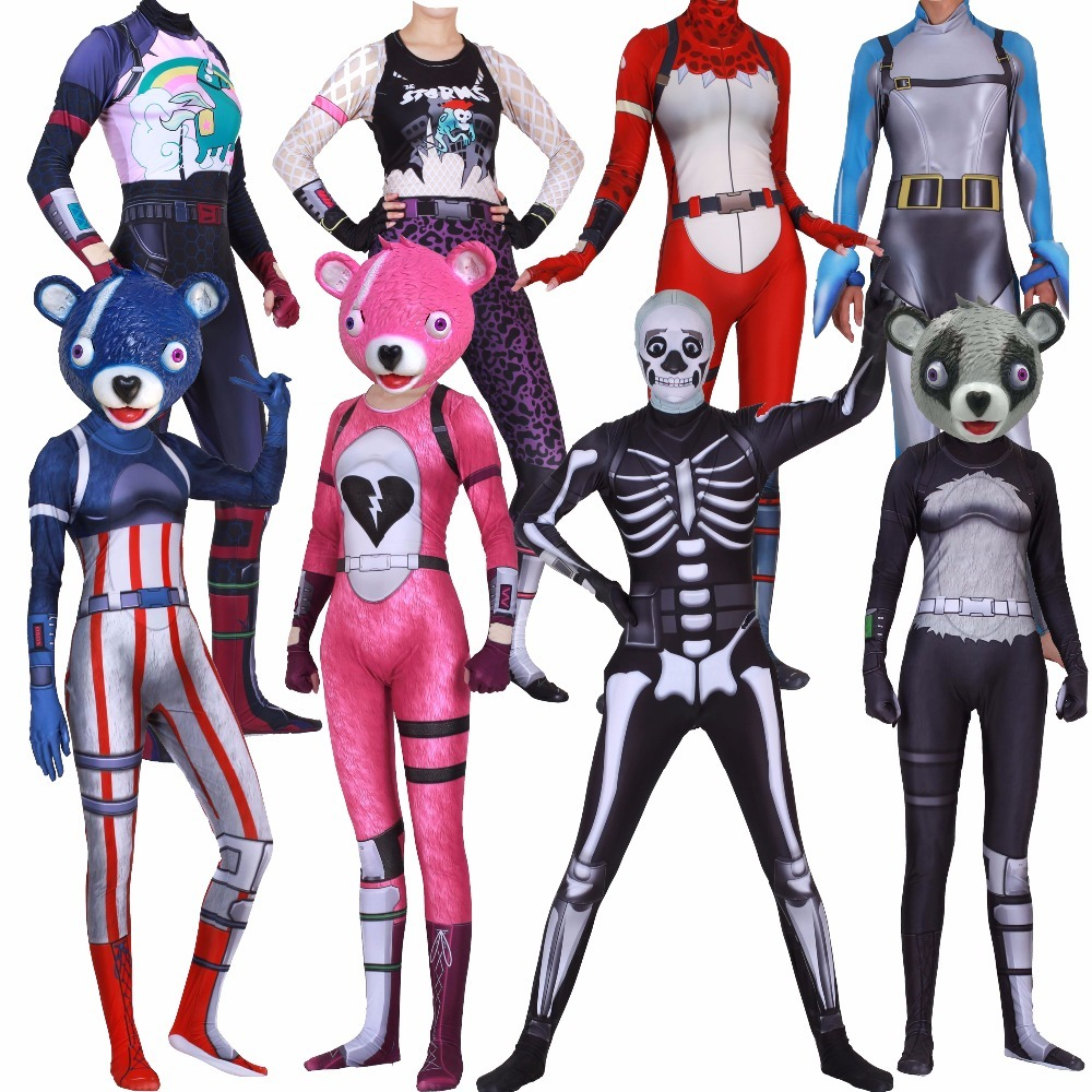 cuddle team leader mask costume skull trooper skin costume kids adult children children halloween costume cosplay
