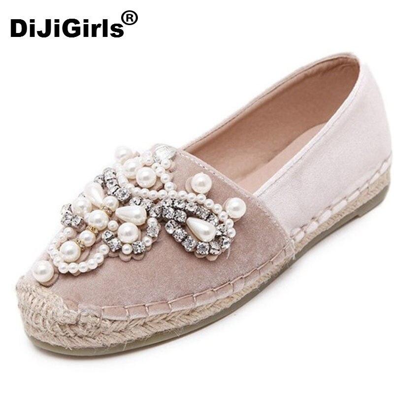 NUEVA Primavera Otoño Mujeres alpargatas holgazán Punta Redonda Perla De Cáñamo Cómodos Inferior Frisherman Shoes Resbalón de Zapato de Mujer de COLOR ROSA