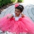 Piso-Longitud Coral Flower Girl Dress Tutu Boda Nupcial Fiesta de Cumpleaños Niñas Princesa Vestido Hecho A Mano Vestido TS100