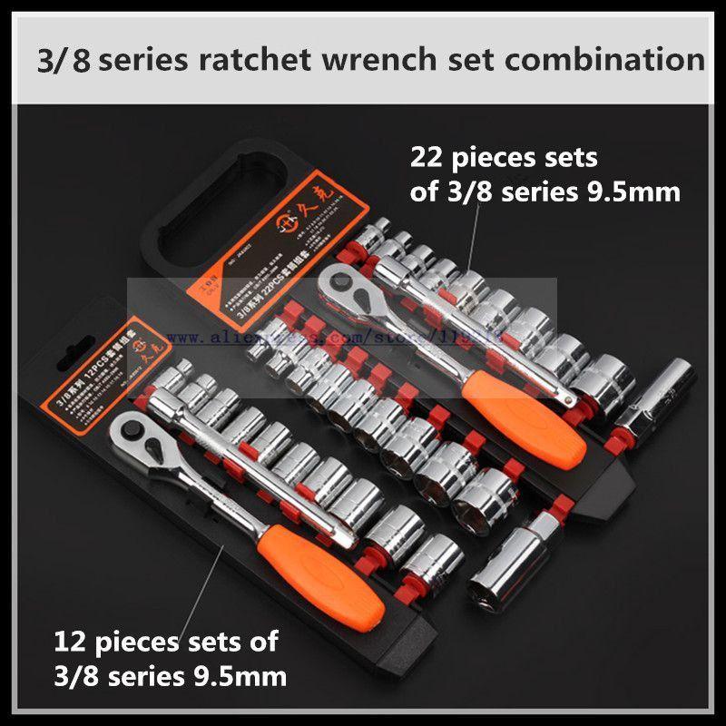 Ensemble de clés à cliquet manchon de mouche moyen 3/8 22 pièces outil de réparation automatique de clé rapide. - 2