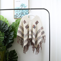 Kids Girls Knitted Tassels Vintage Sweater Capes Poncho Candy Beige Color Western Fashion Cute Children Clothing