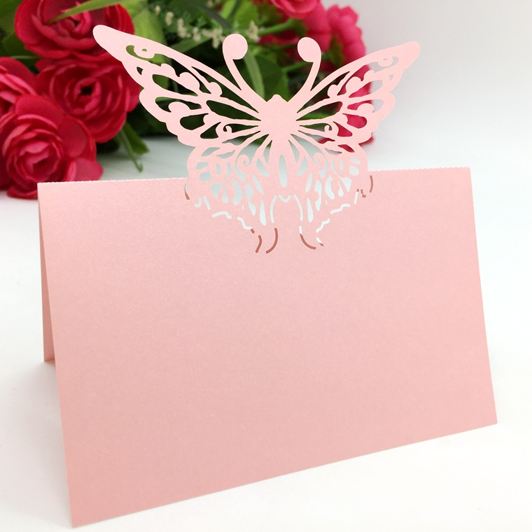 Typy_2 200pcs Laser Cut Hollow Butterfly Paper Table Card Number Name Place Card For Party Wedding Decorate Customization