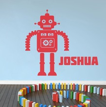 Customized  Name Robot Home Decoration Decals Kids Room Children Boys Wall Sticker Removable Vinyl Stickers CE-2
