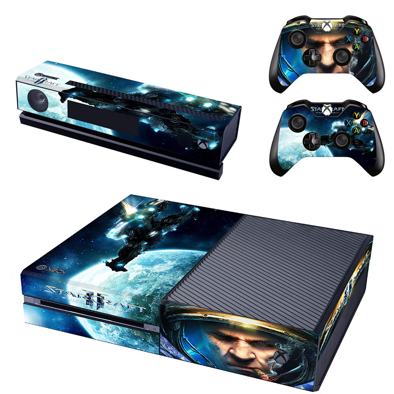 For Starcraft II Skin Sticker Decal For Microsoft Xbox One Console and Kinect and 2 Controllers Stickers Accessory