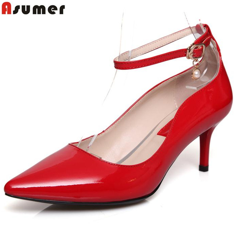 ФОТО pumps for women genuine leather patent leather pointed toe sexy fashion wedding dress shoes 2016 summer woman shoes